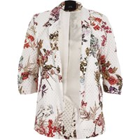 River Island White Floral Print Lace Ruched Sleeve Blazer