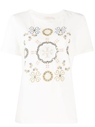 Tory Burch Embroidered T Logo Medallion T Shirt Neutrals
