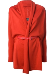 Salvatore Ferragamo Belted Cardi Coat Red