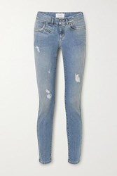Givenchy Distressed Mid Rise Skinny Jeans Blue