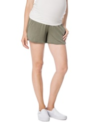 A Pea In The Pod Maternity French Terry Shorts Olive