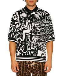 Dolce And Gabbana Jazz Print Jacquard Knit Silk Polo Shirt Black White Black White