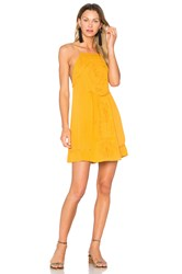 Candc California Dahna Strappy Embroidered Dress Mustard