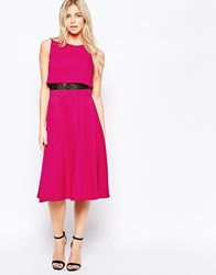 Girls On Film Mid Skater Dress With Overlay Top Pink