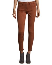 7 For All Mankind Knee Seam Sueded Skinny Jeans Brown