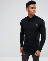 Gym King Muscle Shirt In Black With Gold Logo Black