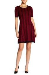 London Times Chevron Knit Fit And Flare Sweater Dress Petite Red