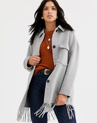 Mango Fringe Hem Pocket Detail Jacket In Grey