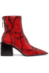 Alexander Wang Parker Snake Effect Leather Ankle Boots Red