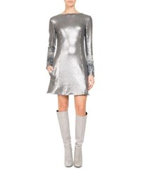 Pascal Millet Paillette Jersey Minidress With Fringe Sleeves Silver