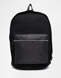 Asos Backpack In Black Faux Leather With Micro Dot Front Pocket