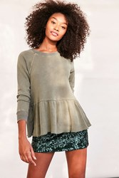 Truly Madly Deeply Clean Sweep Long Sleeve Peplum Tee Green