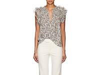 Ulla Johnson Tavi Floral Swiss Dot Silk Blend Blouse White