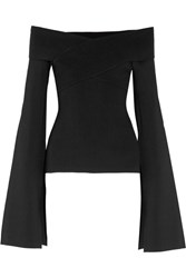 Solace London Off The Shoulder Stretch Knit Top Black