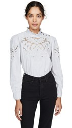 Rebecca Taylor La Vie Long Sleeve Leah Embroidery Top Heather Grey