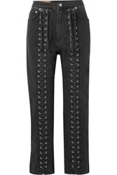 Mcq By Alexander Mcqueen Lace Up High Rise Straight Leg Jeans Black