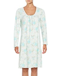 Miss Elaine Long Sleeve Floral Print Nightgown White
