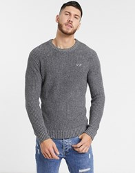 Hollister Icon Logo Crewneck Heavy Knit Jumper In Dark Grey