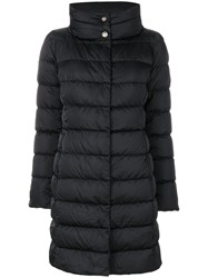 Herno Padded Funnel Neck Coat Women Feather Down Polyamide Polyester Duck Feathers 40 Black