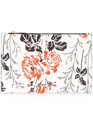 Victoria Beckham Floral Print Clutch Women Leather Polyurethane Polyimide One Size White