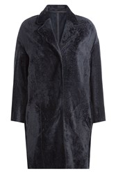 Yves Salomon Sheepskin Coat Blue