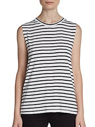 Saks Fifth Avenue Red Striped Cutout Back Tank Black White