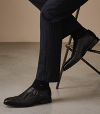 Reiss Raven Monk Strap Shoes In Black