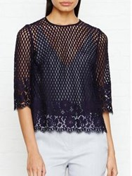 Jigsaw Floral Lace Top Navy