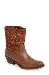 Sixtyseven 'Laurie' Perforated Leather Short Boot Women Tan