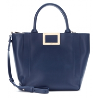 Roger Vivier Ines Shopping Small Leather Tote Navy