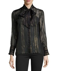 Equipment Leema Metallic Tie Neck Blouse Black Trublk