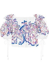 Prabal Gurung Woman Off The Shoulder Printed Cotton Blend Top White