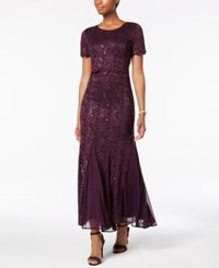 R And M Richards Sequined Lace Popover Gown Plum