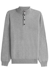 Brioni Cashmere Turtleneck Pullover With Buttons Grey