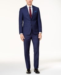 Tallia Men's Slim Fit Blue Red Windowpane Plaid Wool Suit