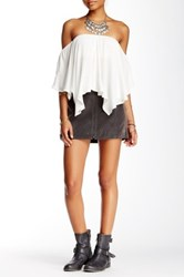 Free People Get Into The Groove Faux Leather Mini Skirt Gray