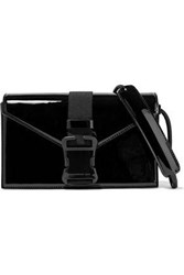 Christopher Kane Devine Buckled Patent Leather Shoulder Bag Black