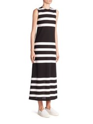 Calvin Klein Kerrick Sleeveless Striped Maxi Dress Black White Stripe