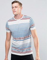 Asos T Shirt With Aztec Print In Textured Fabric Grey Marl