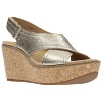Clarks Aisley Tulip Wedge Heeled Sandals Gold