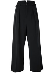 Red Valentino Pleated Cropped Trousers Women Acetate Viscose Spandex Elastane 42 Black