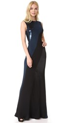 Diane Von Furstenberg Sleeveless Bias Gown Navy Black