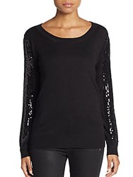 Saks Fifth Avenue Red Sequin Sleeve Sweater Black