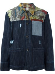 Antonio Marras Printed Denim Jacket Blue