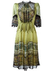 Etro Panelled Bell Sleeve Dress Green