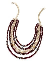 Inc International Concepts Gold Tone Mixed Purple Bead Frontal Necklace