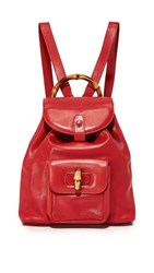 Wgaca What Goes Around Comes Around Gucci Bamboo Backpack Previously Owned Red