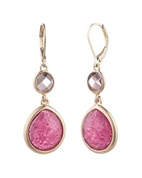 Aqua Double Stone Drop Earrings 100 Exclusive Pink Gold