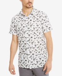 Kenneth Cole Reaction Men's Cotton Palm Tree Shirt White