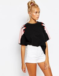 Lazy Oaf Oversized Boyfriend T Shirt With Hands On Shoulder Print Black